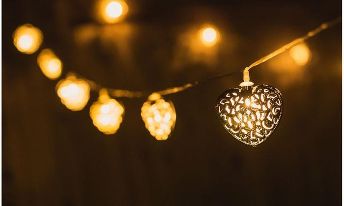 64% Off on Solar Heart LED String Lights Groupon Goods