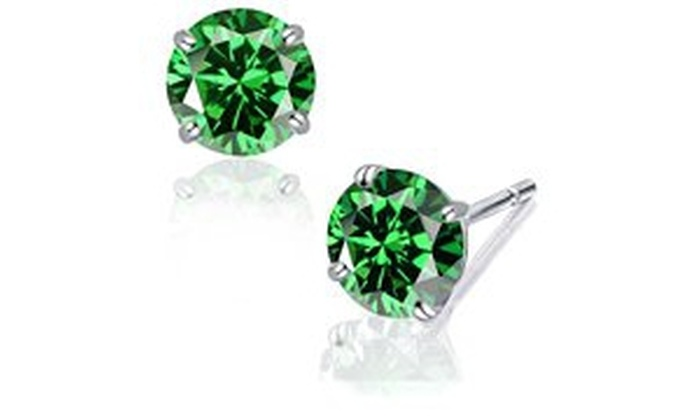 b61c147248e 14k Solid White Gold 5 mm Round-Cut Emerald CZ Stud Earrings 1 ct Round  Green White Gold Cubic Zirconia Cubic Zirconia