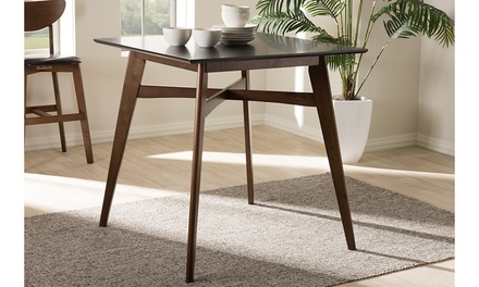 Leena Mid-century Modern Walnut and Black Finished Square Pub Table