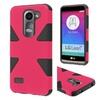Insten Hard Hybrid Case For Lg Leon/power/tribute 2 Hot Pink/black