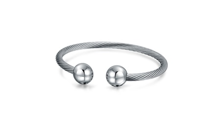Bling Jewelry Stainless Steel Cuff Cable Bangle Bracelet 8in 9c39acbb-9ecb-4860-ad15-ff090b4d3975