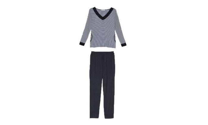 Women's Pullover Jumper Ribbing Cuffs Printed Pajamas Set