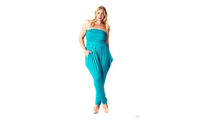 0078f06476e1 ... Womens Plus Size Solid Strapless Rayon Jumpsuit Romper Made In USA