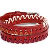 Silver and Red Leather Threaded 3-zone Zigzag Double Wrap Bracelet