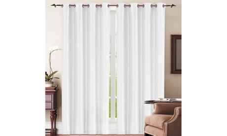 "Carmen Faux Silk 58""x84"" Curtain Panel Pair with Grommets 741830b6-2d5a-4d9a-b545-f348cb5fa3bd"