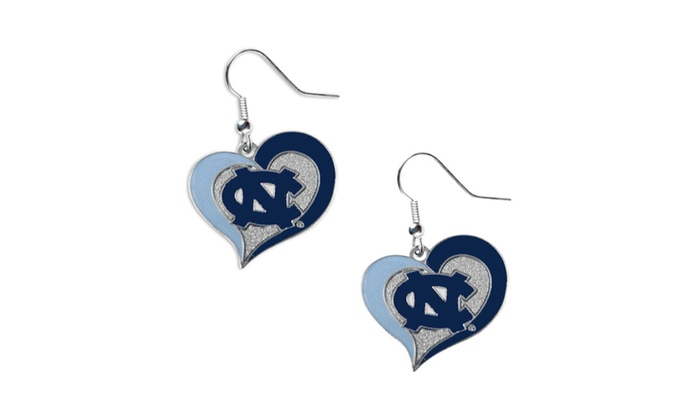 "NCAA UNC University Of North Carolina 3/4"" Swirl Heart Earring Set"