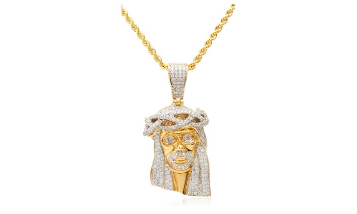 10k gold 15 carat diamond jesus piece pendant 10k 24 rope chain aloadofball Choice Image