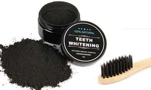 100% Natural Charcoal Teeth Whitening Powder and Bamboo Tooth Brush