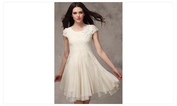Women Short Sleeves Lace Halter Skirt Skater Dress White UWD415 UWD414