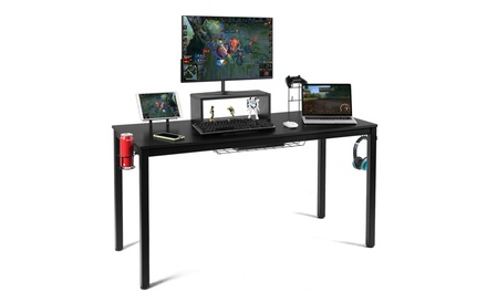 55 inch Gaming Desk Racing Style Computer Desk with Cup Holder & Headphone Hook