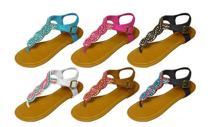 P26 Womens Sandals Flat shoes Beaded & Rhinestone Embellished