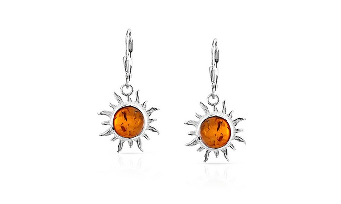 Bling Jewelry: Bling Jewelry Leverback Synthetic Amber Sun Dangle Earrings 925 silver
