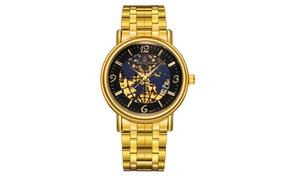 Men's Filigree Globe Quartz Stainless Steel Gold Plated Wrist Watch
