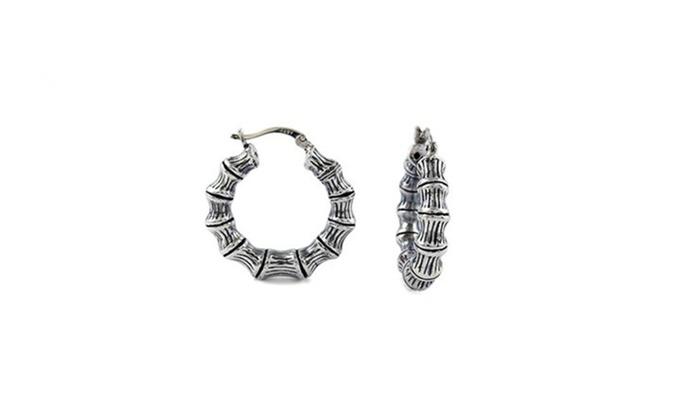 Sterling Silver Bamboo Design Hoop Earrings By Verona