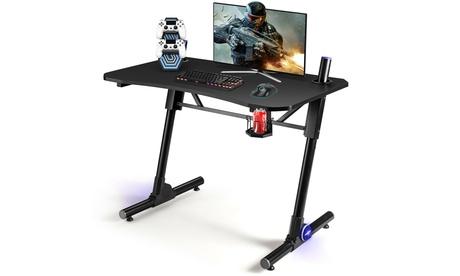 Costway Gaming Computer Desk Height Adjustable w/ LED Light & Gaming Handle Rack