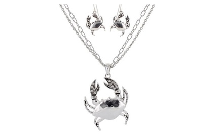 Double Strands Crab Pendant Necklace Set