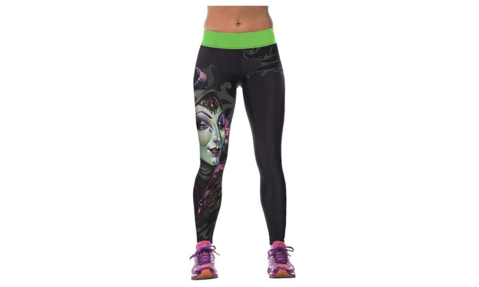 Women's Digital Printing Elasticity Tight Fitness Mention Hip Leggings