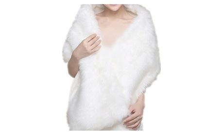 White Faux Fur Wedding Special Occasion Shrug Shawl