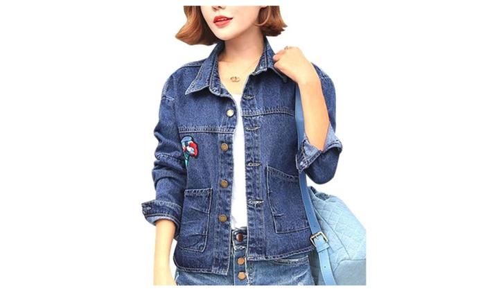 Women's Long Sleeve Buttons Up Regular Fit Denim Jacket