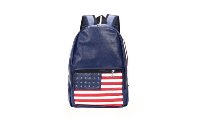 New Trendy Quality American Flag Pu Casual Backpacks - Blue / One Size