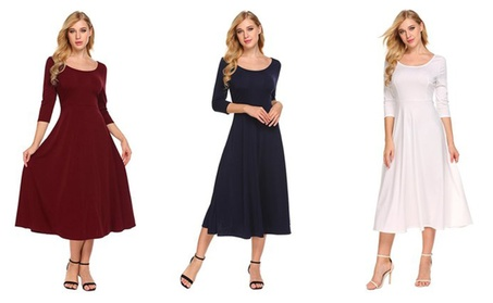 Women Casual 3/4 Sleeve A-line Flare Midi Long Plain Simple Dress f069e929-f25f-4e43-a952-be13b403ceb8