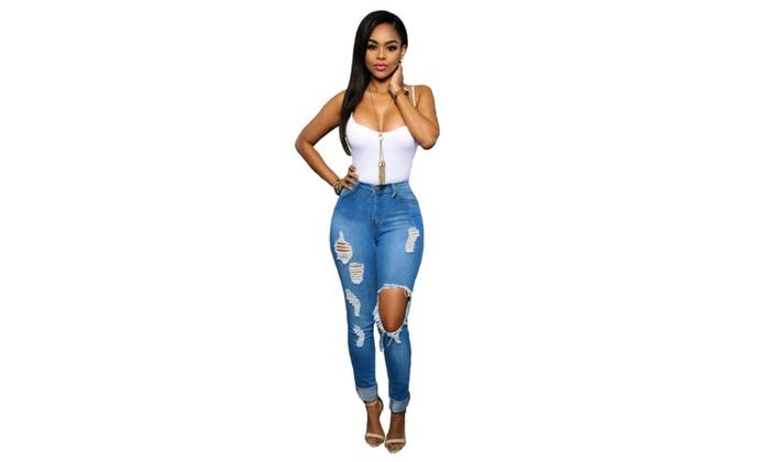 Women's Glistening Ripped Skinny Jeans
