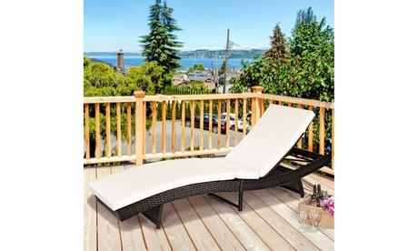 Costway Patio Rattan Folding Lounge Chair Chaise Adjustable W/ Cushion