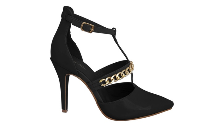 Adona Black or Nude with Gold Chain High Heel