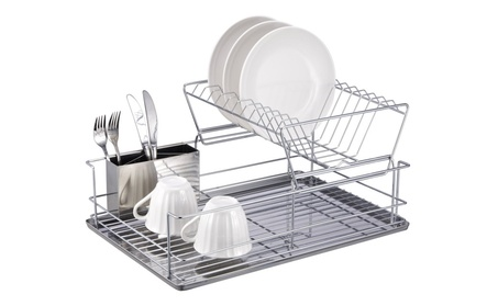 Home Basics DR30245 2 Tier Stainless Steel Dish Rack 42fbb6ed-80ea-4724-a8b8-c8264b0a9bde