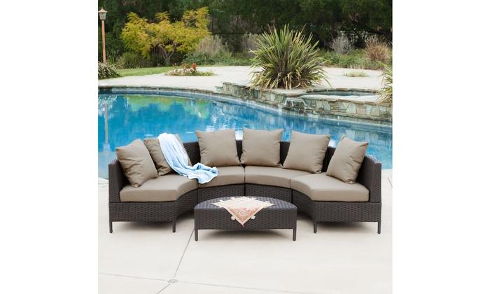 Venice Outdoor 5pcs Wicker Sofa Sectional Set Groupon