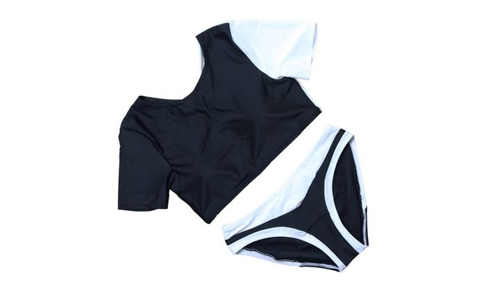 Women's Short Sleeve Two Pieces Bikini Set