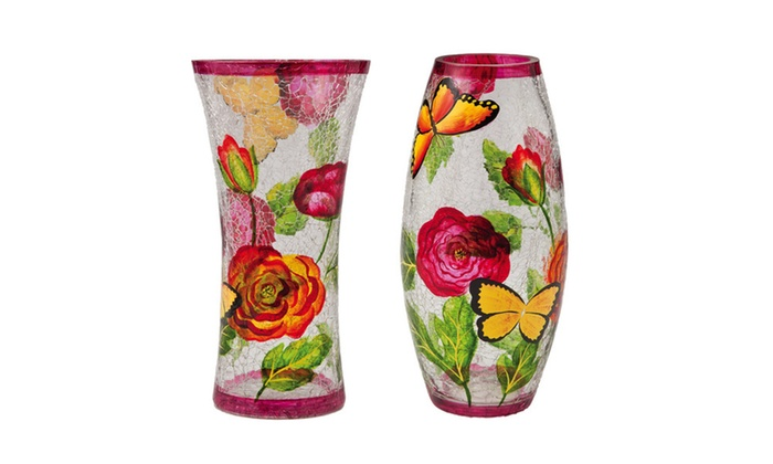 Botanica Hand Painted Glass Vases 2 Pack Groupon