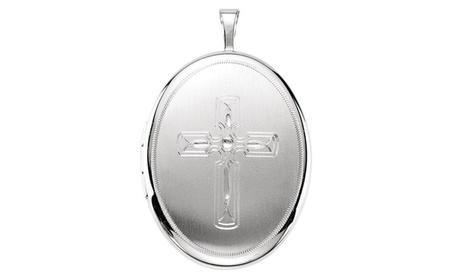 Sterling Silver Oval Cross Locket 3eea9080-24ef-421c-9033-a3729d542ea9