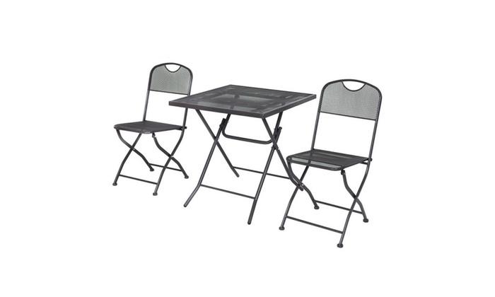 3 pcs outdoor patio bistro furniture set steel mesh frame square 3 pcs outdoor patio bistro furniture set steel mesh frame square table watchthetrailerfo