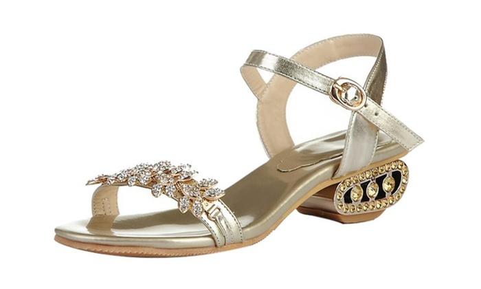 Womens Faux Rhinestone Bling Bling Mid Heel Open Toe Sandal