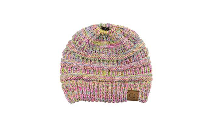 C.C BeanieTail Soft Stretch Cable Knit Messy High Bun Ponytail Beanie