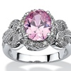 2.78 TCW Oval-Cut Pink Cubic Zirconia Bow Ring in Silvertone