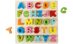 Hey! Play! Wooden Alphabet or Number Puzzle Board