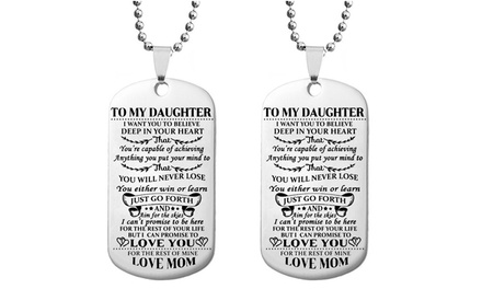 To My Son or To My Daughter Dog Tag Necklace Stainless Steel Military Necklace