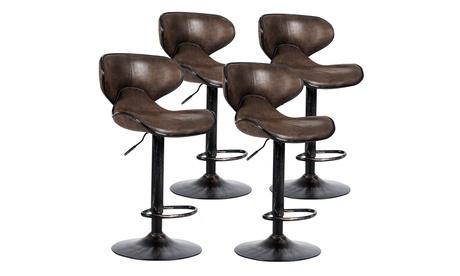 Costway Set of 4 Adjustable Bar Stools Swivel Bar Chairs w/Backrest Retro