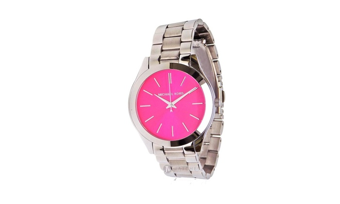 330ed936500d Brand New Women s Michael Kors Silver Tone Pink Dial Watch MK3291 ...