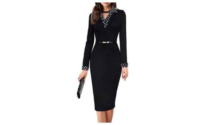 Women Polka Dots Collar Waist Fastening Bodycon Dress - ZWWD272