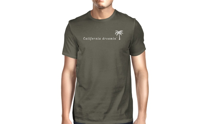 e6e58c5e17a 365 Printing California Dreaming Mens Dark Gray Tee Crew Neck Summer T-Shirt