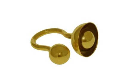 Cup and ball design oxidised brass ring cd891b34-2cc6-4e3b-b1c0-186affe6dc39