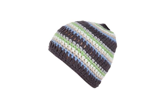Women's Striped Elastic Closure Casual No Brim Woollen Hat - Black / One Size
