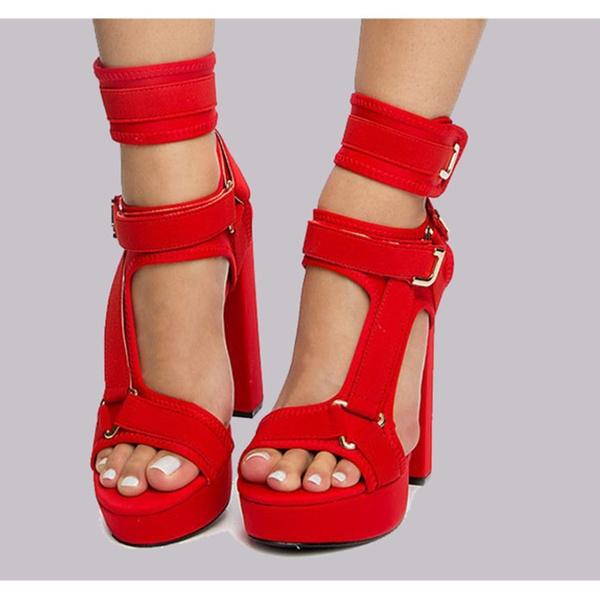 f1b10d2d79b Women Liliana Strappy Elastane Harness Chunky Platform Heel Glamrock ...