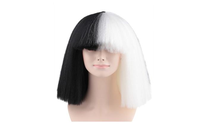 Celebrity Black White Large Costume Wig In SIA Style HW 174