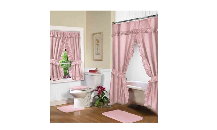 Tiara Double Swag Shower Curtain Tea Rose 70 X 72 Vinyl