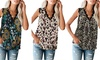 Women Solid Color V-neck Lace Sleeveless Printed Bottoming Vest Top