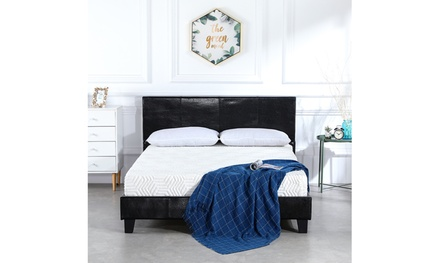Simple PU Bed Frame Black Full